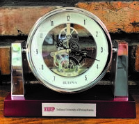 Clock, Mantle Style, Exposed Gears, IUP Logo & Full Name