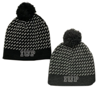 KNIT POM HAT GRAY WITH IUP BY LEGACY