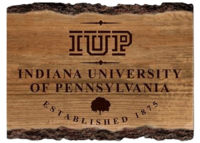 WOOD BARKY SIGN 12X16 WITH IUP AND FULL NAME AND ESTABLISHED 1875