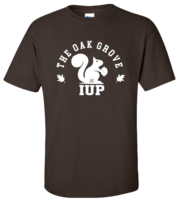 TSHIRT BROWN WITH THE OAK GROVE AND SQUIRREL AT IUP