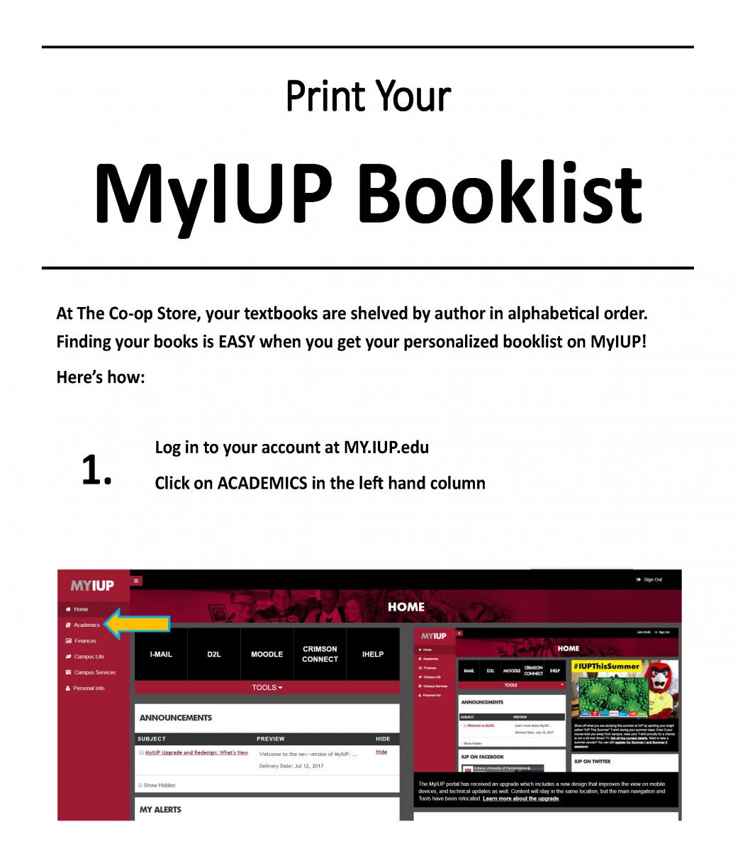 Print Your My IUP Booklist p1